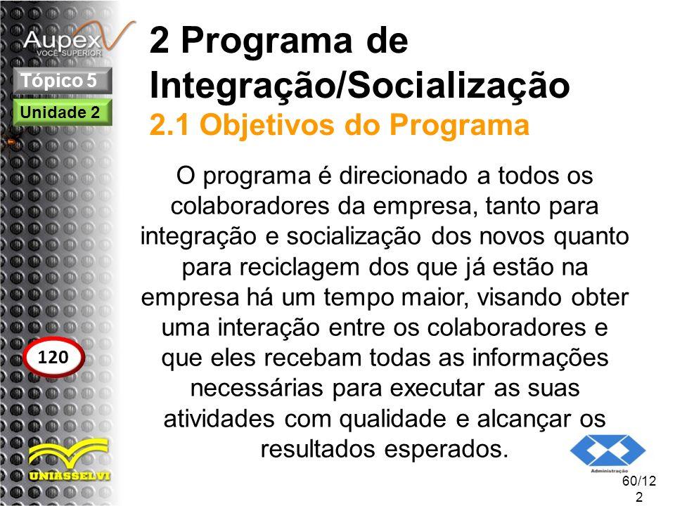 2 Programa de Integração/Socialização 2.1 Objetivos do Programa