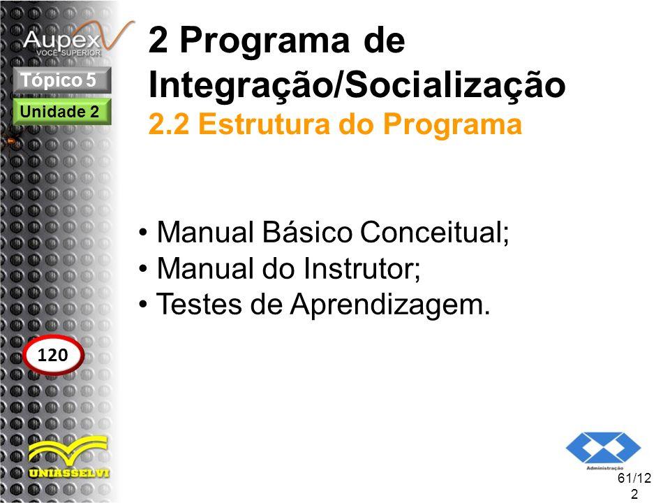 2 Programa de Integração/Socialização 2.2 Estrutura do Programa