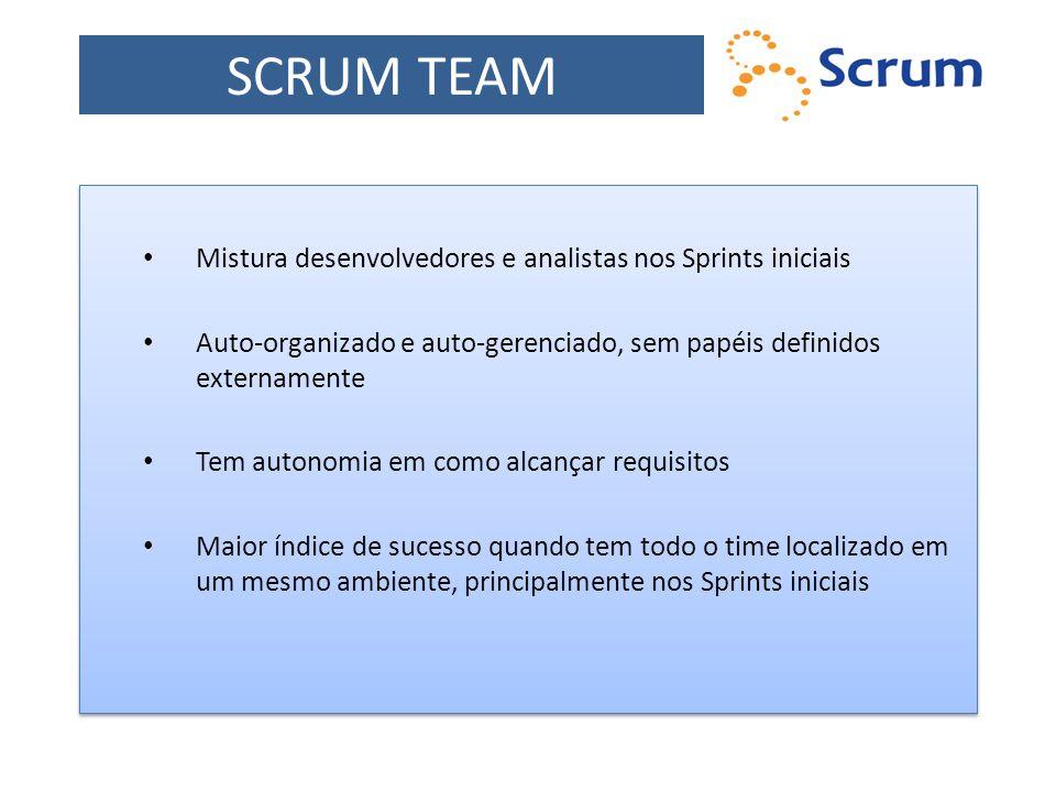 SCRUM TEAM Mistura desenvolvedores e analistas nos Sprints iniciais