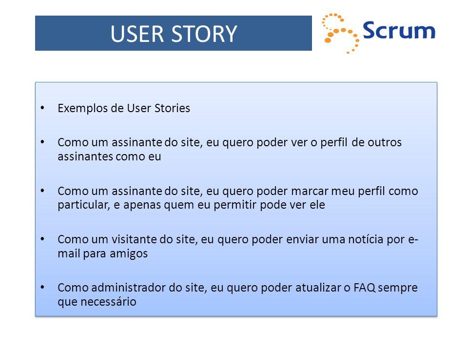 USER STORY Exemplos de User Stories
