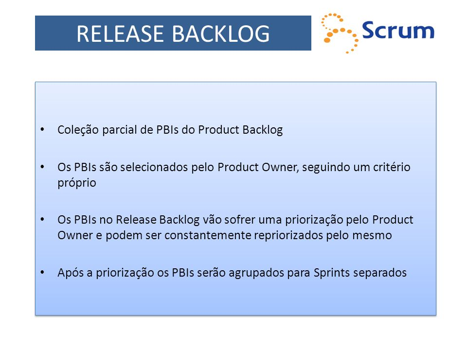 RELEASE BACKLOG Coleção parcial de PBIs do Product Backlog