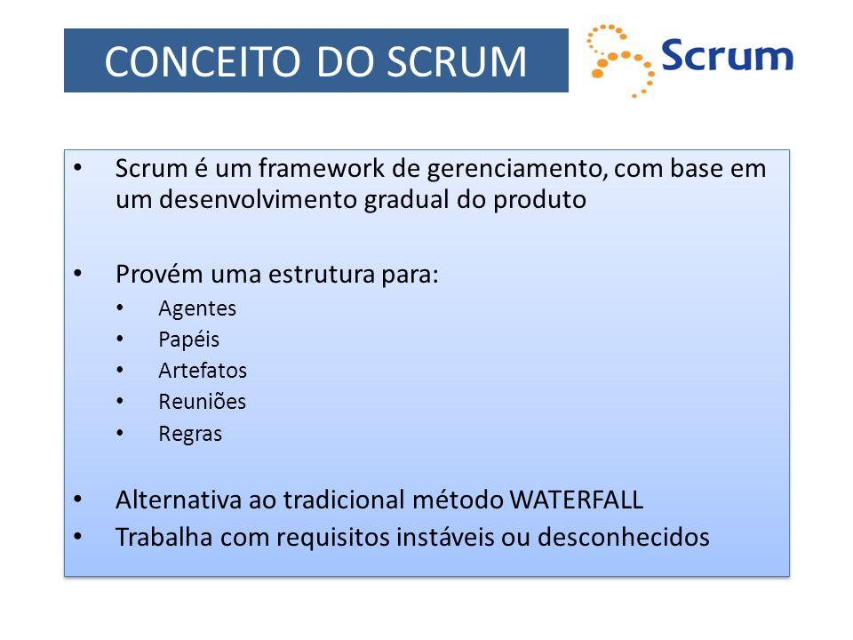 CONCEITO DO SCRUM Scrum é um framework de gerenciamento, com base em um desenvolvimento gradual do produto.