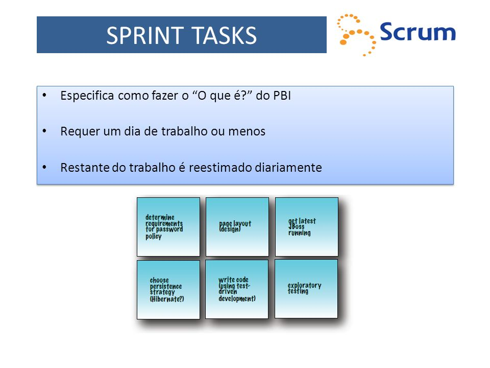 SPRINT TASKS Especifica como fazer o O que é do PBI