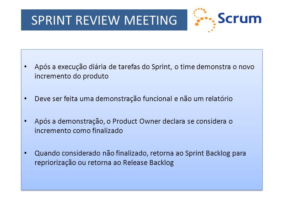SPRINT REVIEW MEETING Após a execução diária de tarefas do Sprint, o time demonstra o novo incremento do produto.
