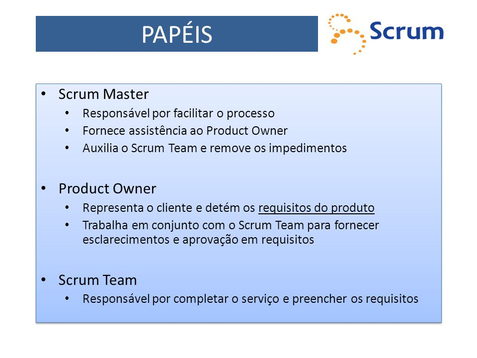 PAPÉIS Scrum Master Product Owner Scrum Team