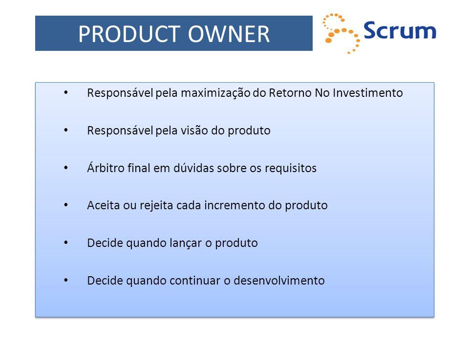PRODUCT OWNER Responsável pela maximização do Retorno No Investimento