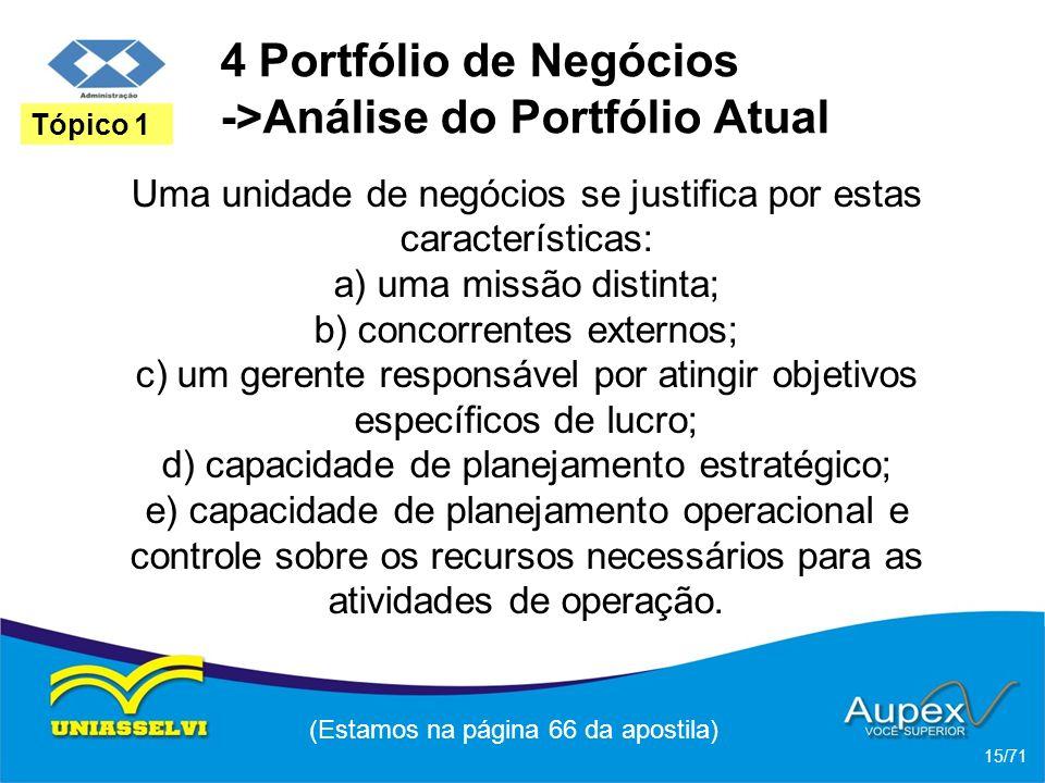 4 Portfólio de Negócios ->Análise do Portfólio Atual