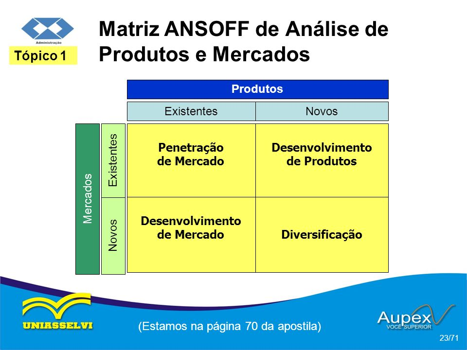 Matriz ANSOFF de Análise de Produtos e Mercados