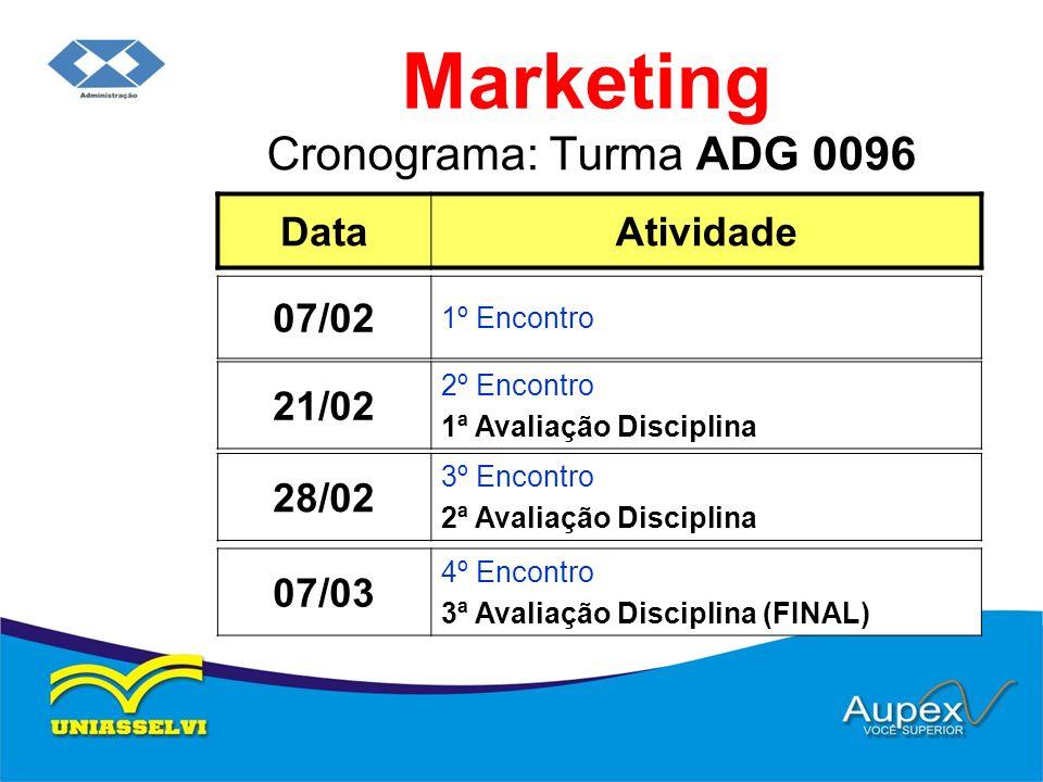 Marketing Cronograma: Turma ADG 0096 Data Atividade 07/02 21/02 28/02