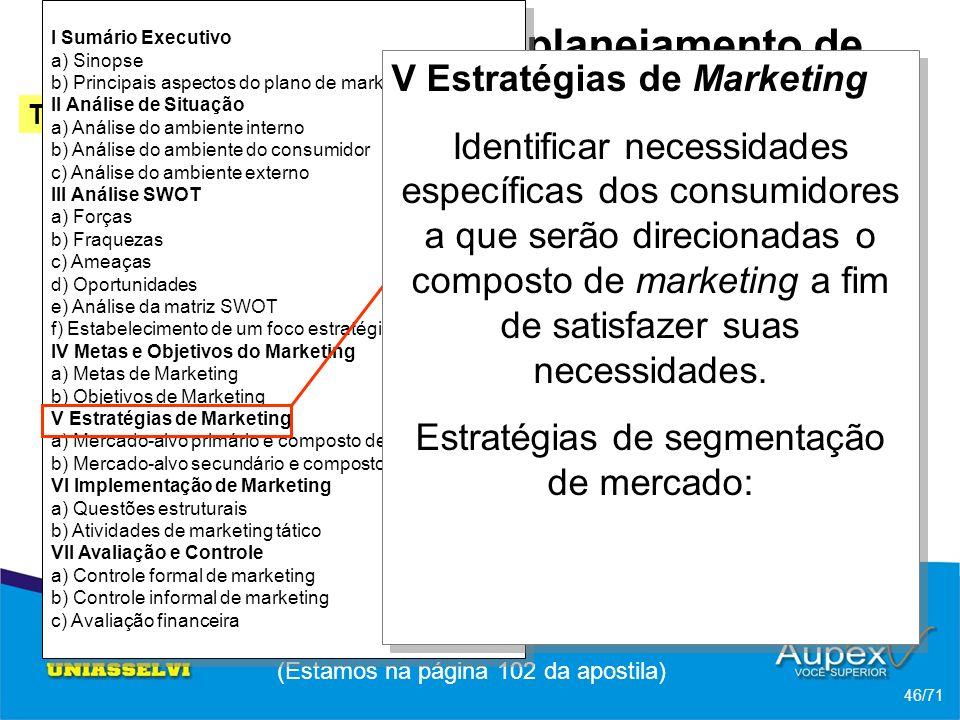 I Sumário Executivo a) Sinopse b) Principais aspectos do plano de marketing II Análise de Situação a) Análise do ambiente interno b) Análise do ambiente do consumidor c) Análise do ambiente externo III Análise SWOT a) Forças b) Fraquezas c) Ameaças d) Oportunidades e) Análise da matriz SWOT f) Estabelecimento de um foco estratégico IV Metas e Objetivos do Marketing a) Metas de Marketing b) Objetivos de Marketing V Estratégias de Marketing a) Mercado-alvo primário e composto de marketing b) Mercado-alvo secundário e composto de marketing VI Implementação de Marketing a) Questões estruturais b) Atividades de marketing tático VII Avaliação e Controle a) Controle formal de marketing b) Controle informal de marketing c) Avaliação financeira