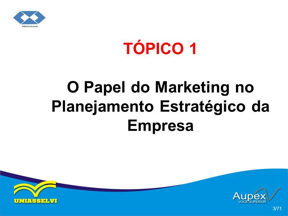 TÓPICO 1 O Papel do Marketing no Planejamento Estratégico da Empresa