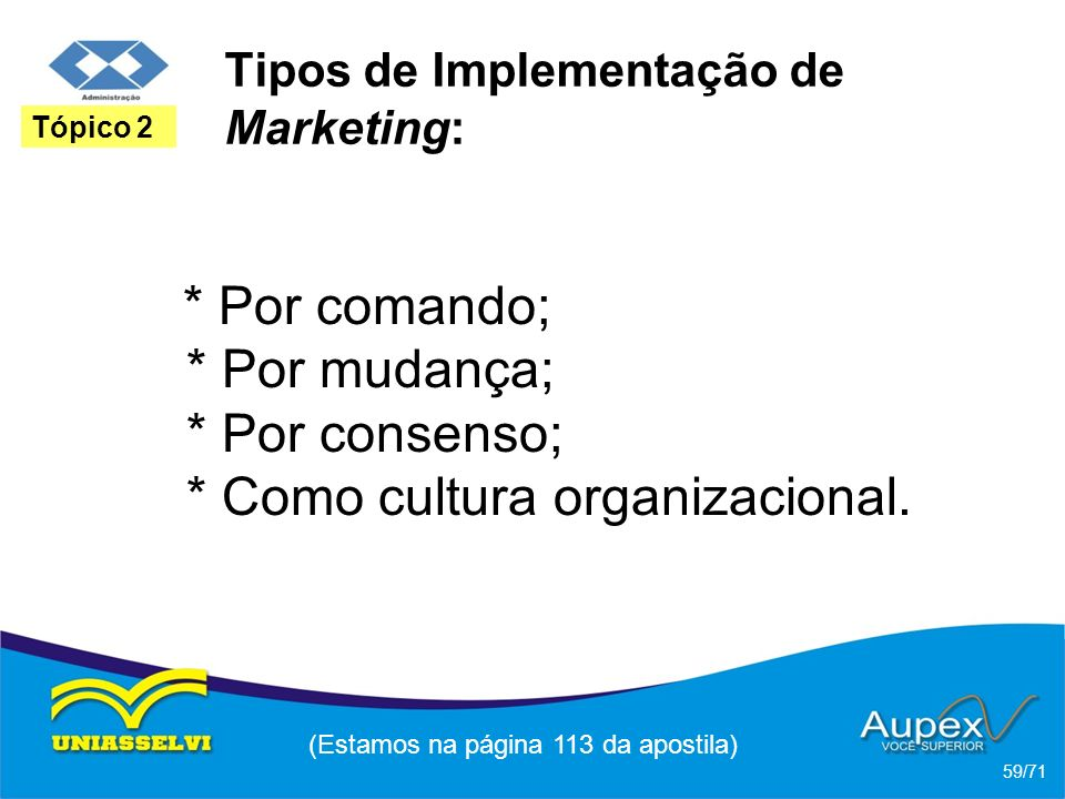 Tipos de Implementação de Marketing: