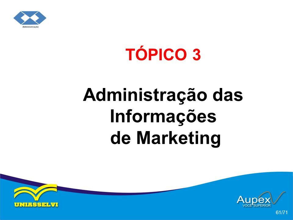 TÓPICO 3 Administração das Informações de Marketing