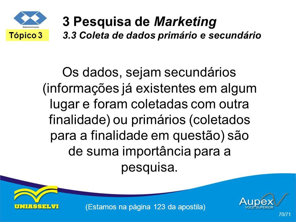 3 Pesquisa de Marketing 3.3 Coleta de dados primário e secundário