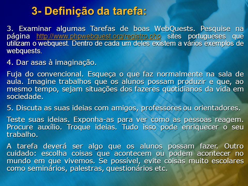 3- Definição da tarefa: