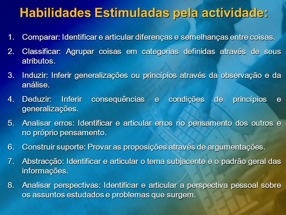 Habilidades Estimuladas pela actividade:
