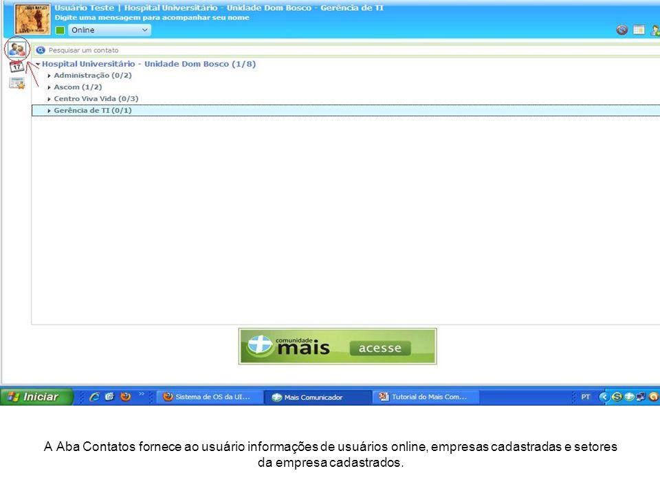 A Aba Contatos fornece ao usuário informações de usuários online, empresas cadastradas e setores da empresa cadastrados.