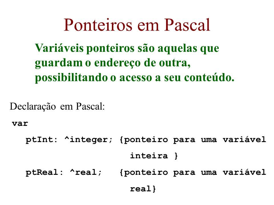 Ponteiros em Pascal Variáveis ponteiros são aquelas que guardam o endereço de outra, possibilitando o acesso a seu conteúdo.
