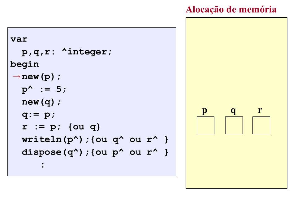 Alocação de memória : p q r var p,q,r: ^integer; begin new(p);