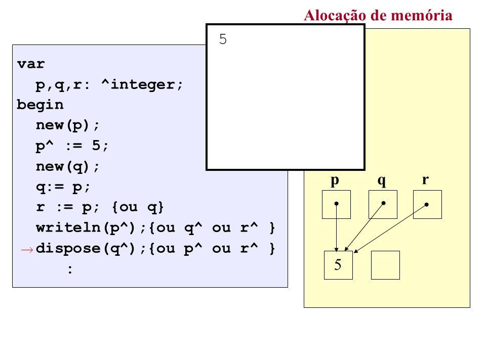 Alocação de memória 5 : p q r 5 var p,q,r: ^integer; begin new(p);