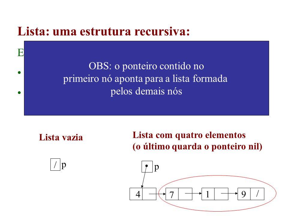 Lista: uma estrutura recursiva: