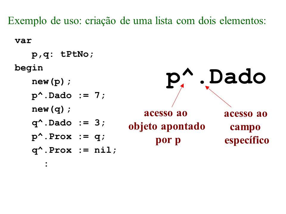 p^.Dado Exemplo de uso: criação de uma lista com dois elementos: