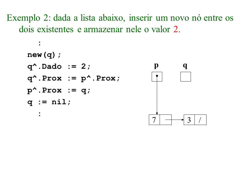 Exemplo 2: dada a lista abaixo, inserir um novo nó entre os dois existentes e armazenar nele o valor 2.
