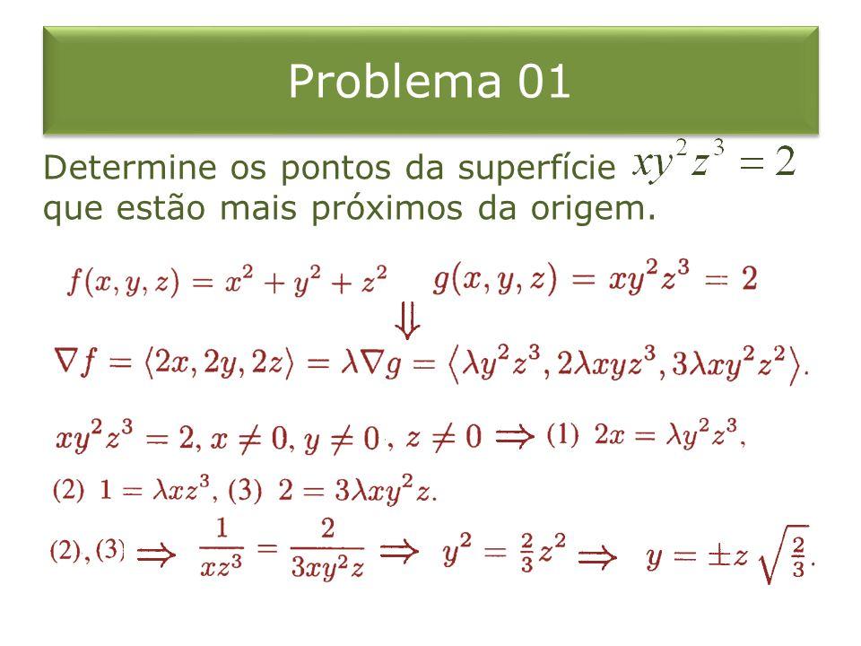 Problema 01 Determine os pontos da superfície que estão mais próximos da origem.