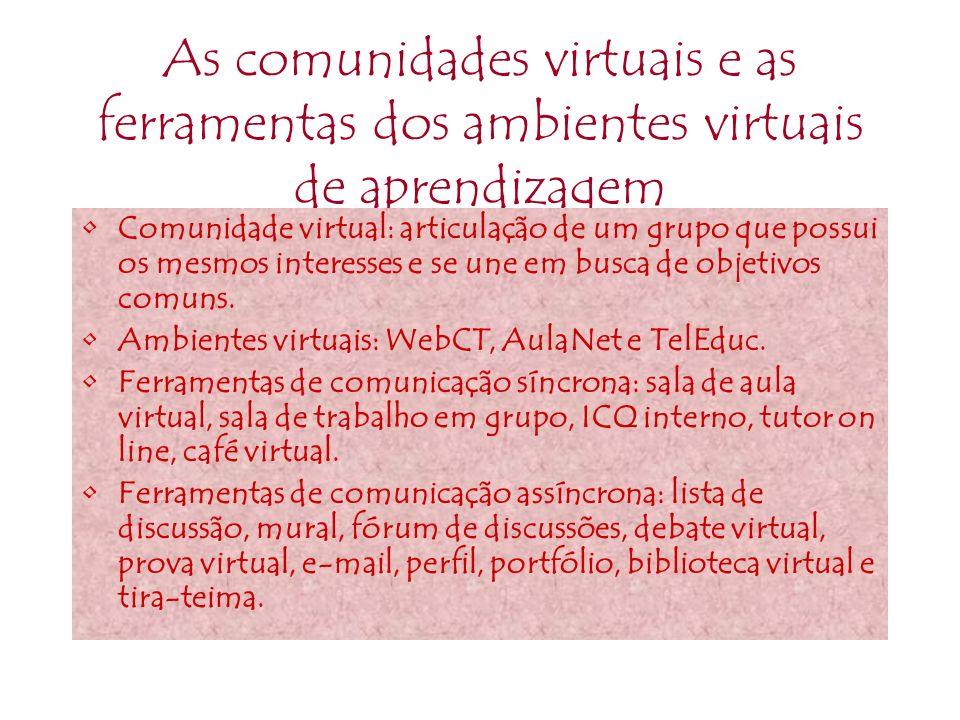As comunidades virtuais e as ferramentas dos ambientes virtuais de aprendizagem