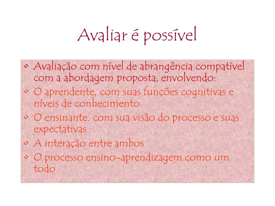 Avaliar é possível Avaliação com nível de abrangência compatível com a abordagem proposta, envolvendo: