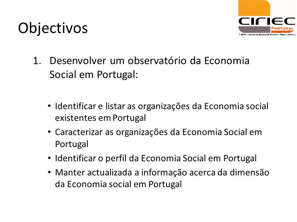 Objectivos Desenvolver um observatório da Economia Social em Portugal: