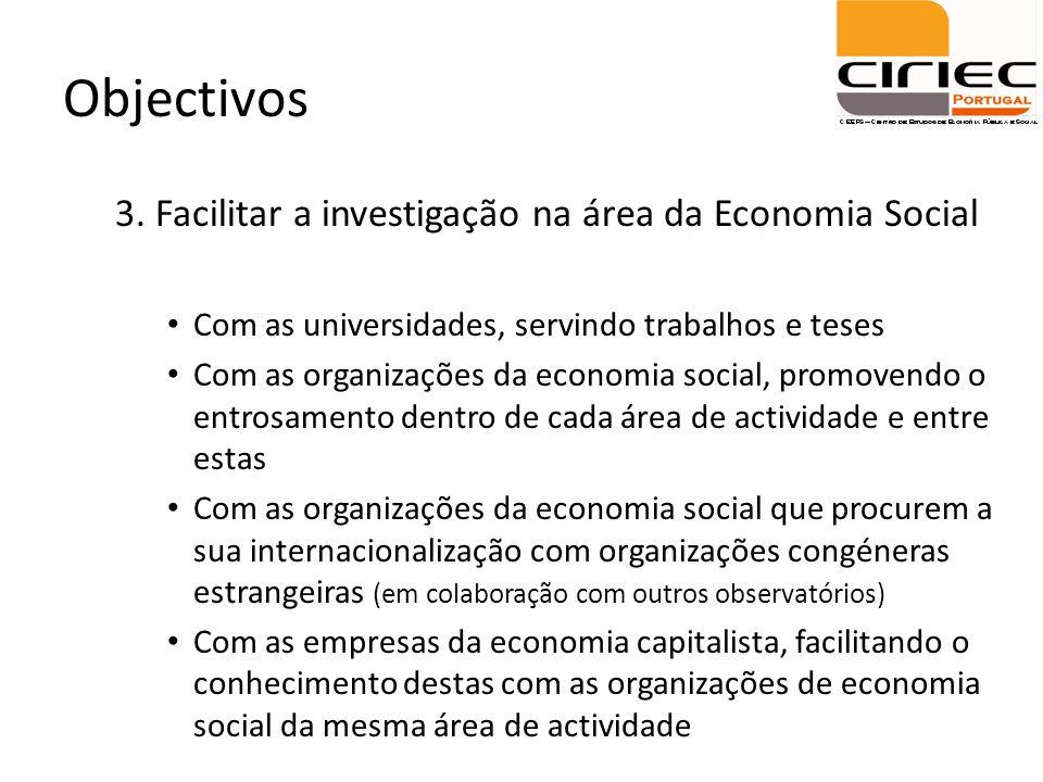 Objectivos 3. Facilitar a investigação na área da Economia Social