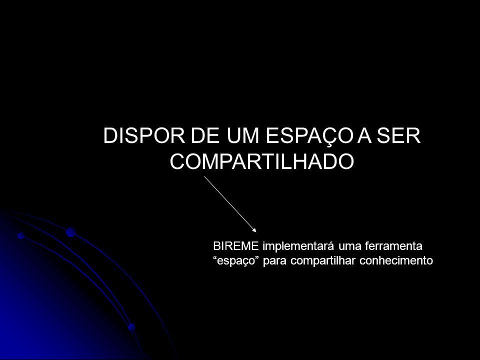 DISPOR DE UM ESPAÇO A SER COMPARTILHADO