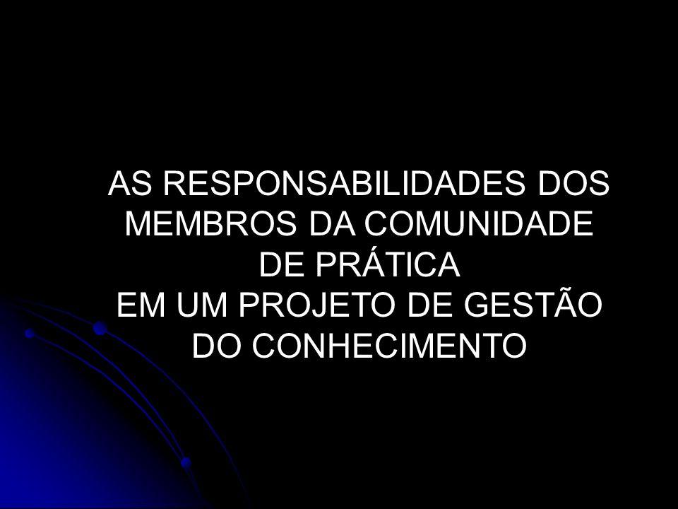 AS RESPONSABILIDADES DOS MEMBROS DA COMUNIDADE DE PRÁTICA
