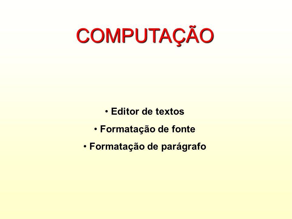 Formatação de parágrafo