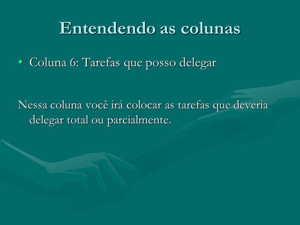 Entendendo as colunas Coluna 6: Tarefas que posso delegar