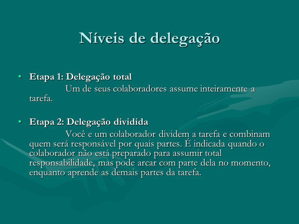 Níveis de delegação Etapa 1: Delegação total
