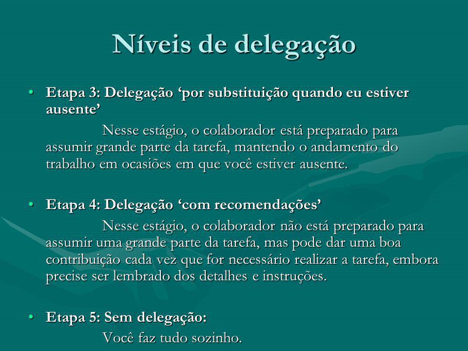 Níveis de delegação Etapa 3: Delegação 'por substituição quando eu estiver ausente'