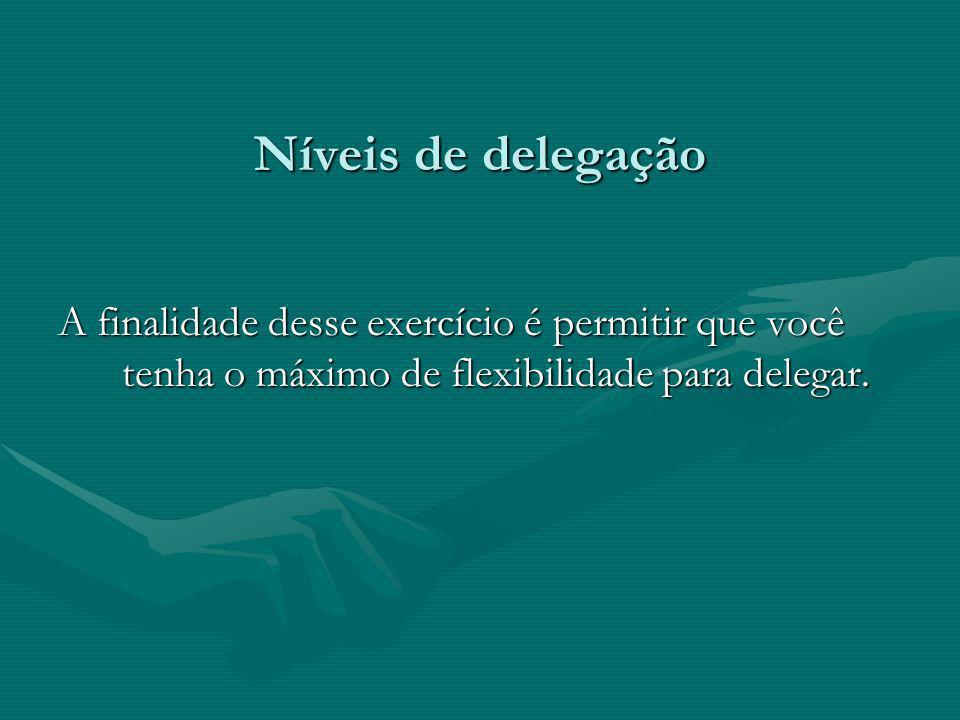 Níveis de delegação A finalidade desse exercício é permitir que você tenha o máximo de flexibilidade para delegar.