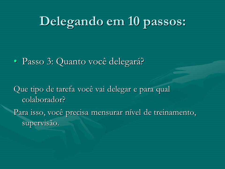 Delegando em 10 passos: Passo 3: Quanto você delegará