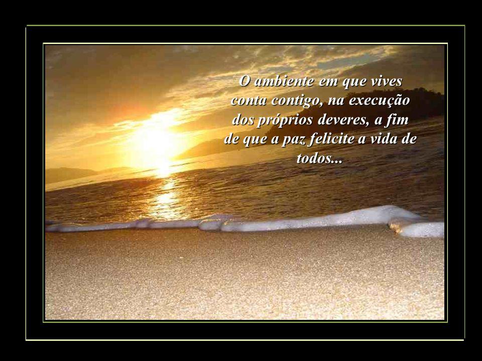 O ambiente em que vives conta contigo, na execução dos próprios deveres, a fim de que a paz felicite a vida de todos...