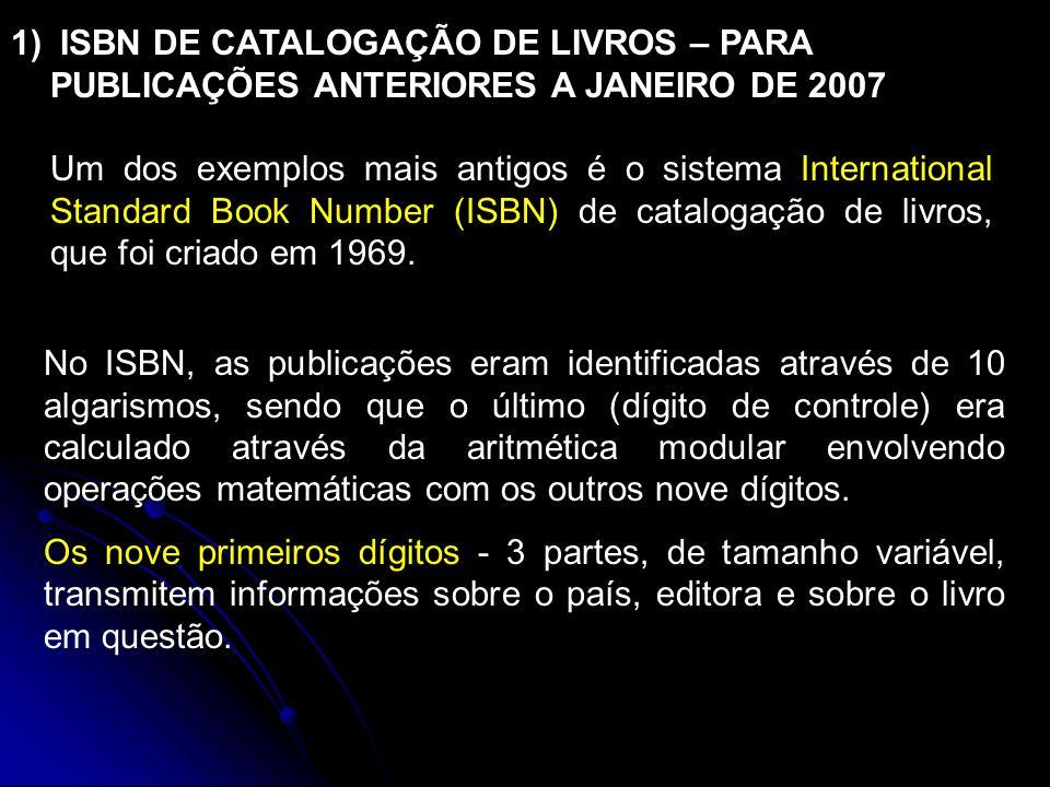 ISBN DE CATALOGAÇÃO DE LIVROS – PARA PUBLICAÇÕES ANTERIORES A JANEIRO DE 2007