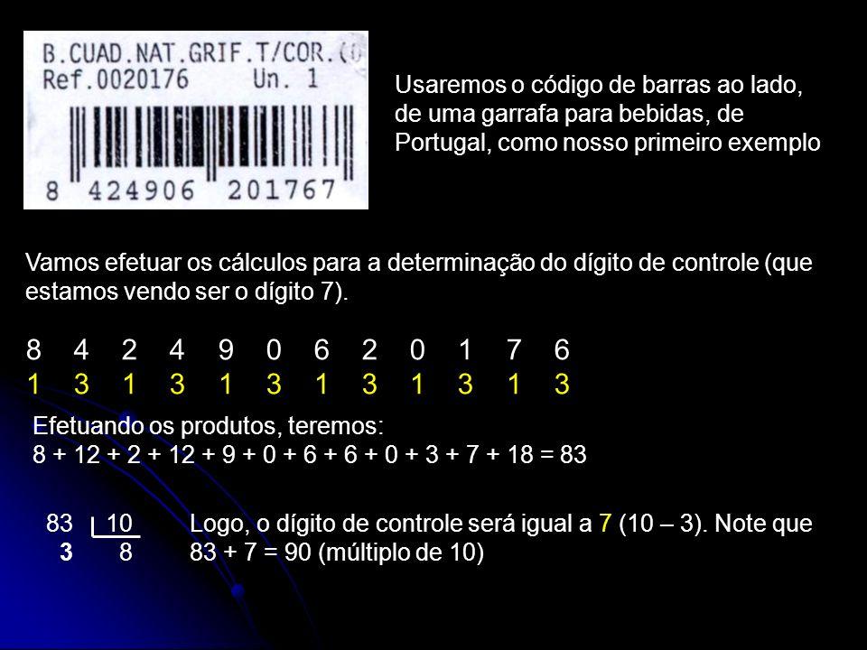 Usaremos o código de barras ao lado, de uma garrafa para bebidas, de Portugal, como nosso primeiro exemplo