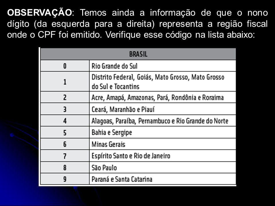 OBSERVAÇÃO: Temos ainda a informação de que o nono dígito (da esquerda para a direita) representa a região fiscal onde o CPF foi emitido.