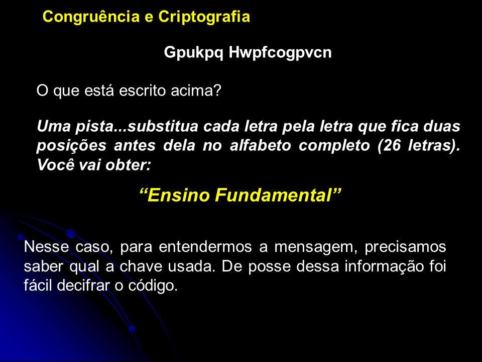 Ensino Fundamental Congruência e Criptografia