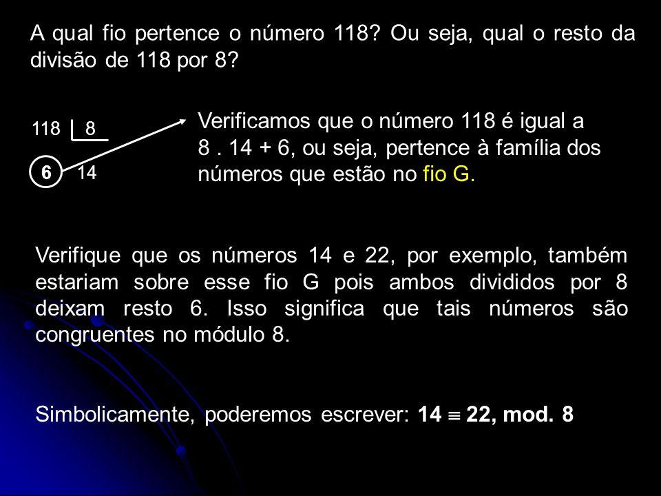 Simbolicamente, poderemos escrever: 14  22, mod. 8
