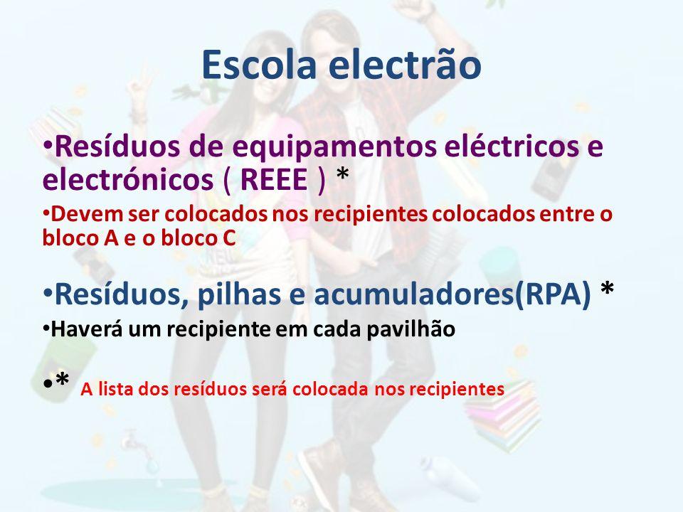 Escola electrão Resíduos de equipamentos eléctricos e electrónicos ( REEE ) *