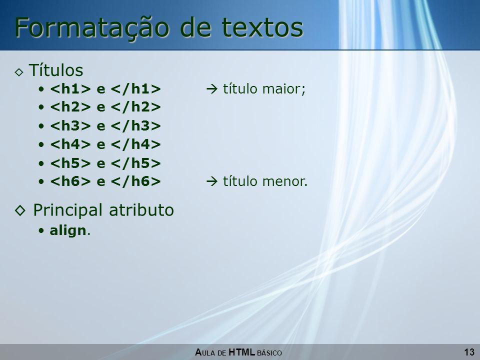 Formatação de textos Principal atributo Títulos
