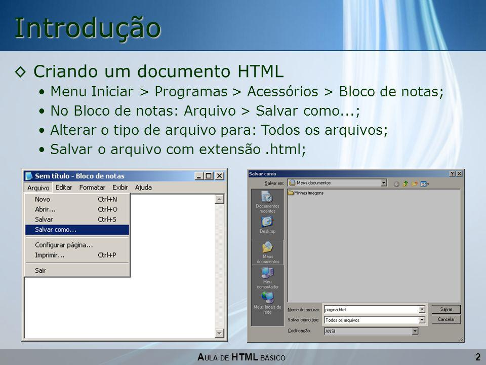 Introdução Criando um documento HTML