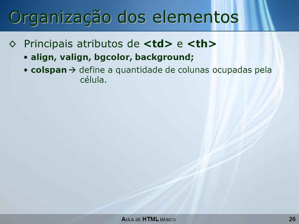 Organização dos elementos